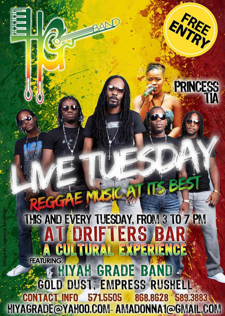 Hyah Grade Band Live Tuesday @ Drifters Bar Negril